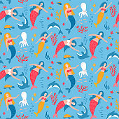 Mermaid and animal under the sea seamless pattern. Blue water with cute underwater creatures. Hand drawn isolated flat vector illustration.