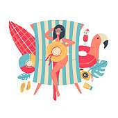 Young woman in bikini sunbathing lying on the beach. View from above. Isolated summer concept with sea vacation stuff. Vector flat cartoon illustration.