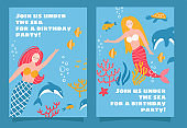 Set of Mermaid Sea Theme Party Invitation Design For Girls and Teen. Cute female characters with underwater world. Hand drawn isolated flat vector illustration.