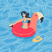 Cute summer time beach girl swimming on pink flamingo float circle in blue ocean water background. Vector flat hand drawn Illustration