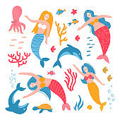 Set of cute adult mermaid girls, starfish, dolphins, octopus, fishes, shells. Color vector cartoon isolated illustrations