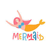 Cute hand-drawn print design with swimming funny mermaid. Underwater isolated concept with lettering - mermaid. Vector illustration in hand drawn flat style.