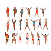 Swimmers set. Various characters swimming people in action poses, sport man swim action. Male and female athletes. Flat vector illustration.