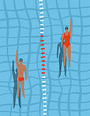 Swimmers in the pool top view. Man and woman swim swim on the back in the swimming pool. Sports competition. View from above. Vector flat design illustration.