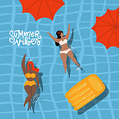 Cute decorative summer vibes banner with swimming women and girl in the pool. Hand drawn Vector illustration. Top view water surface with female body positive characters and umbrellas.