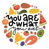 You are what you eat - lettering quote print. The healthy food round concept design for print and web projects. Flat vector illustration.