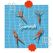 Pool Top view with umbrellas, summer holidays banner. People swimming, relax, have a fun time in swimming pool. Vector flat illustration with lettering text. Summer time poster. Young men and women