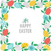 Easter square greeting card template with cute colored eggs and leaves. Spring holiday poster or invitation for kids. Bright frame or border illustration with traditional symbols.