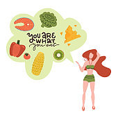 Young athletic girl in swimsuit holding healthy food in her mind. The concept of healthy eating. Cartoon flat vector design illustrations with lettering text - You are what you eat.