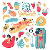 Summer party set of elements, clip art collection. Seaside beach pool party. Young women, drinks, fruits, animals, clothing. Flat colourful vector illustration icon sticker isolated on background.