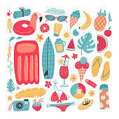 Big set of summer vacation items. Accessories for beach holidays by the sea. Summer fruits, food, drinks, equipment, clothes. Collection for summer holiday. Flat cartoon hand drawn vector illustration