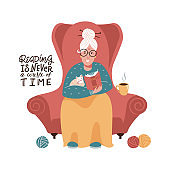 Cute old lady is sitting in a red armchair and reading a book. Vector flat hand drawn illustration. reading is never a waste of time - lettering quote.