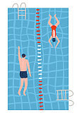 People in swimsuits swiming in the pools. Swimming pool top view flat vector illustration. Male and female athletes go in for sports.