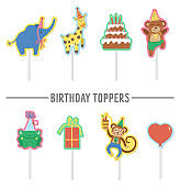 Set of Birthday party templates with cute animals. Anniversary cake toppers collection. Bright pre-made holiday event designs for kids. Pack of decorations for candy bar