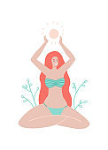 Summer greeting card. A long hair girl in a swimsuit sits in the lotus position and holds a sum in her arms. Vector stock flat illustration in flat boho style.