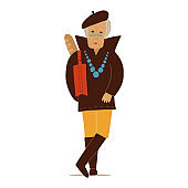 Fashion Senior Woman. Elegant Old Lady Character Wearing Trendy Clothes in French style. Vector flat hand drawn Illustration