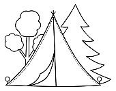 Summer camp black and white scene with tent and forest. Vector campfire illustration. Active holidays or local tourism woodland landscape outline design for postcards, prints, infographics.