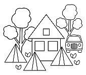 Summer camp black and white scene with house, tent, van, forest. Vector campfire illustration. Active holidays or local tourism woodland landscape outline design for postcards, prints, infographics.