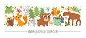 Vector horizontal set with cute comic forest animals and elements. Card template design with woodland characters, birds, insects. Funny summer camp, active nature trip or local tourism border.