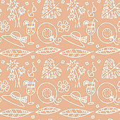 Beige summer seamless pattern. Hat, glasses, drinks, palm levea and branches, Pastel illustrations are suitable for fabric, gift paper, and summer cards. Linear doodle vector illustration.