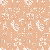 Sunner beach seamless pattern. Beautiful Summer vacation holiday beige sand color icons in hand drawn linear doodle style for fashion fabric.