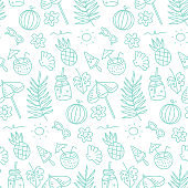 Cute summer abstract linear pattern. Doodle Seamless pattern with summer fruits, beach umbrella, sunglasses, sun, and seashells for children or teenager girls. Vector illustartion.