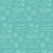 Island seamless pattern in the summer mood with waves, clouds, flowers, palm trees vector in hand drawn linear styledesign for fashion, fabric and all prints on light blue line