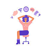 Multitasking and time management concept. Business woman doing multiple tasks at once. Busy Woman holding her head sitting on office chair. Flat vector illustration.