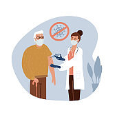 Senior old man at the doctor in the hospital is vaccinated. Time for vaccination against COVID-19. Vector flat hand drawn illustration