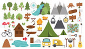 Vector black and white summer camp set. Forest, woodland, nature elements collection. Outdoor active tourism and sport outline icons pack with trees, waterfall, boats, bike, campfire, tent, mountains.