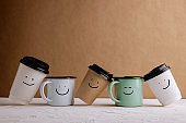 Zero Waste Products. Set of Happy Recycle Coffee Cup. Reduce Plastic Packaging. Environment, Ecology Care, Renewable Concept.
