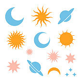 Moon Moon eclipse, stars, Saturn and Sun silhouette icons. Simple sign of day and night. Celestial outline pictogram isolated on transparent background. Vector Icon shape.