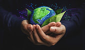 ESG Concept. Nature Meet Technology. Green Energy, Renewable and Sustainable Resources