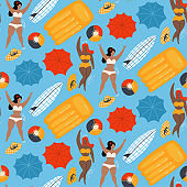 Women in pool swimming with Inflatable ball and mattresses seamless pattern. Flat vector illustration.