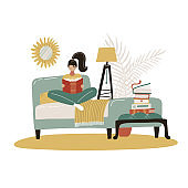 Young Woman reading book in bed. Relaxed girl comfortable sitting on bed with blanket and read. Scandinavian bedroom. Cozy modern home interior. Concept of homeward comfort. Flat vector illustration