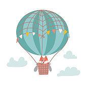Cute cartoon fox on a hot air balloon in the sky. hildren s illustration in the nursery. Vector flat hand drawn illustration