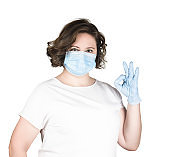 Woman in medical mask and gloves isolated on white background, good quality horizontal photo, virus protection, self-isolation, quarantine, protection