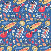Cute summer time bright cartoon seamless pattern with sea vacation icons isolated on blue background. background with tanned girls. Flat vector illustration.