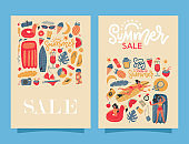Set of two retro summer beach banners with lettering text - Summer sale and many bexh vacation elements. Vector flat hand drawn Illustration