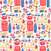 Summer vacation holiday icons seamless pattern. Bright beach relaxation elements. Vector flat hand drawn Illustration