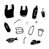 Plastic garbage Sea Ocean River Water Pollution Problem Icon Set. Bag, cup, bottle and straw simple vector illustration.