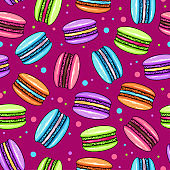 Seamless pattern of colorful sweet macarons cakes. French macaroons. Junk food background