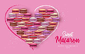Happy Valentines Day background with french macaroons. Valentine greeting card