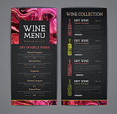 Wine menu design with alcohol ink texture. Marble texture background.