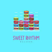 Colorful sweet macarons cakes like a musical rhythm. French macaroons. Junk food background