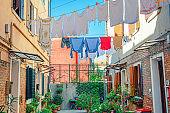 Typical italian courtyard between buildings