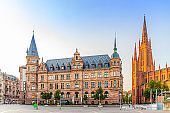 Wiesbaden cityscape with City Palace Stadtschloss or New Town Hall Rathaus and Evangelical Market Protestant church