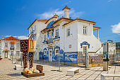 Aveiro station, central railway azulejos-tiled station building in city centre