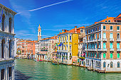 Grand Canal waterway in Venice historical city centre with Palazzo Civran palace