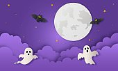 happy halloween party with ghosts and bat paper art style on purple background. vector illustration.